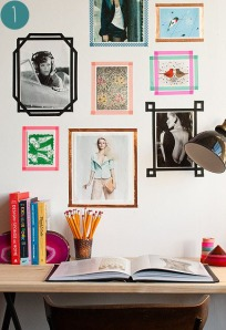gallery wall washi tape apartment therapy
