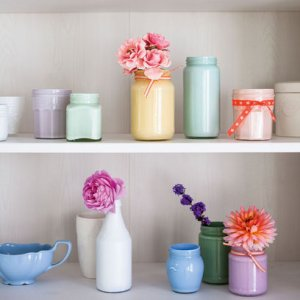 chalky pastel jam jar paint vase recycle