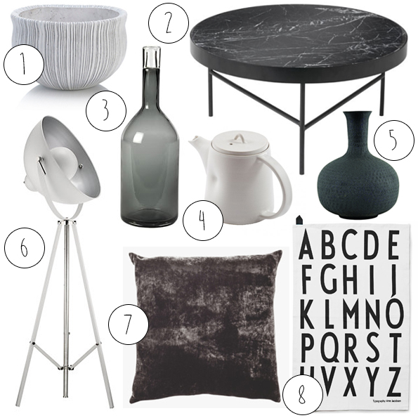 monochrome, interior, styling, trend, inspiration, home, black and white, interior design, shopping, accessories, vase, cushion, john lewis, habitat, heals, conran, simplicity,
