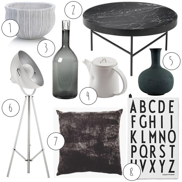 monochrome, interior, styling, trend, inspiration, home, black and white, interior design, shopping, accessories, vase, cushion, john lewis, habitat, heals, conran, simplicity,
