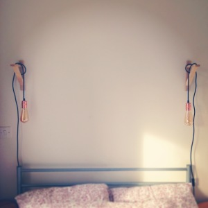 drill, bedside, light, filament, exposed, bulb, hang, wall, diy, retro, modern, small bedroom, solution, ekby, valter, ikea, bed,